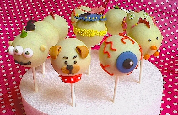 Assorted Cake Pops with Chocolate Ganache Filling Coated in White Chocolate