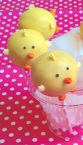 Chocolate Chick Cake Pops coated with White Chocolate (Coloured Yellow) again...