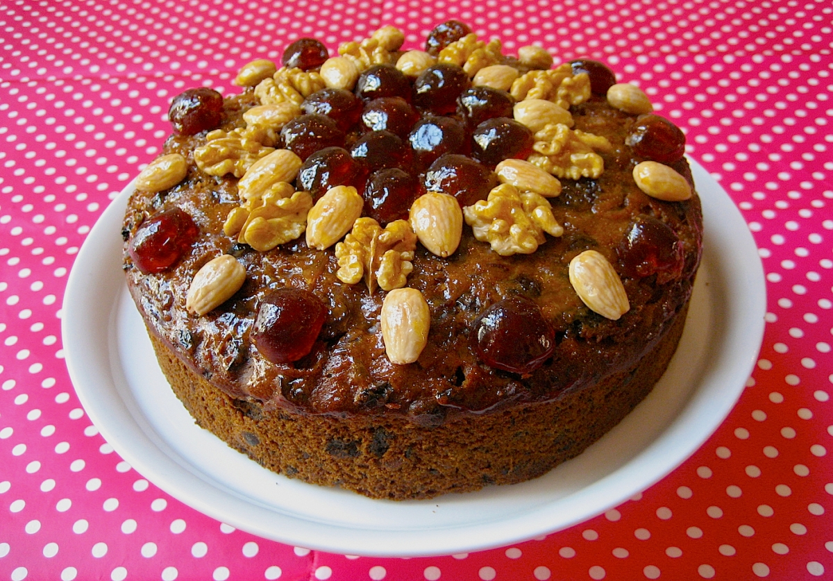 Traditional Fruit Cake Topped with Nuts and Glace Cherries