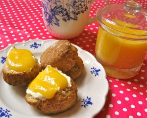 Wholemeal Scones with Tangy Homemade Lemon Curd & Clotted Cream
