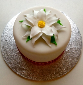 Mini White Poinsettia Cake