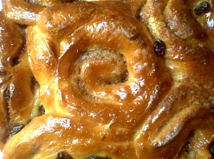 Chelsea Buns with Cinnamon and Raisin filling
