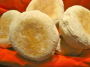 English Muffins in a basket