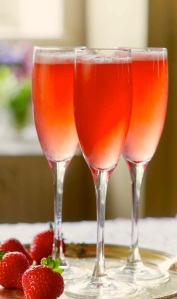 Fresh Strawberry Cordial and Prosecco