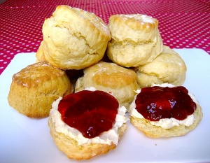 Scones, clotted cream and strawberry jam