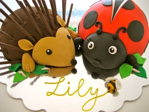 Hedgehog and Ladybird Cake with Worms