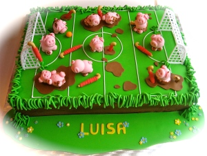 Pigs Playing Hockey Cake