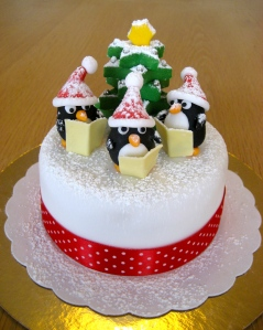 Christmas Carol Penguins Cake