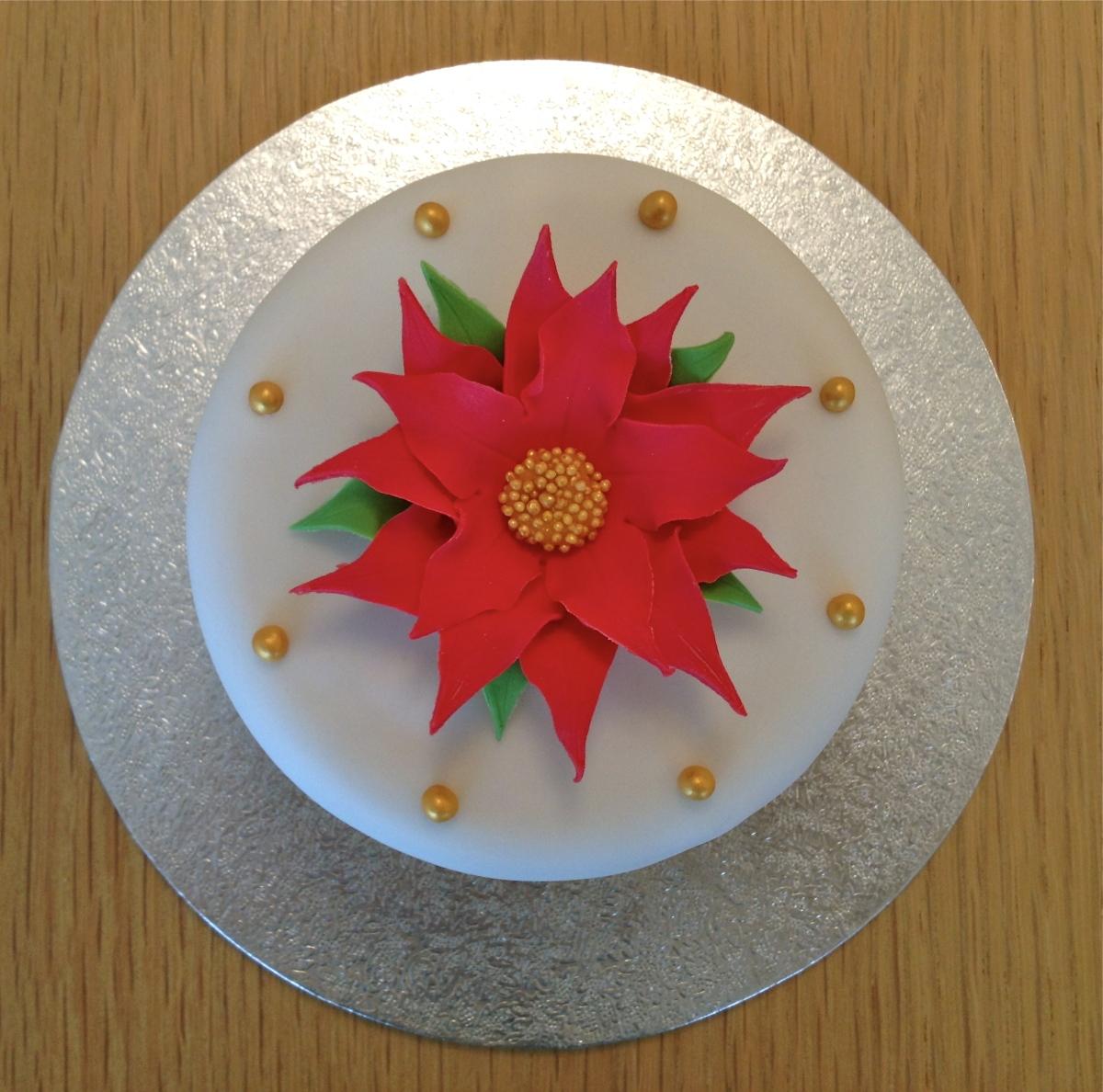 Mini Red Poinsettia Cake